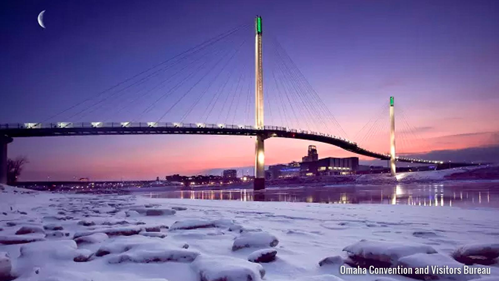 Omaha bridge in winter