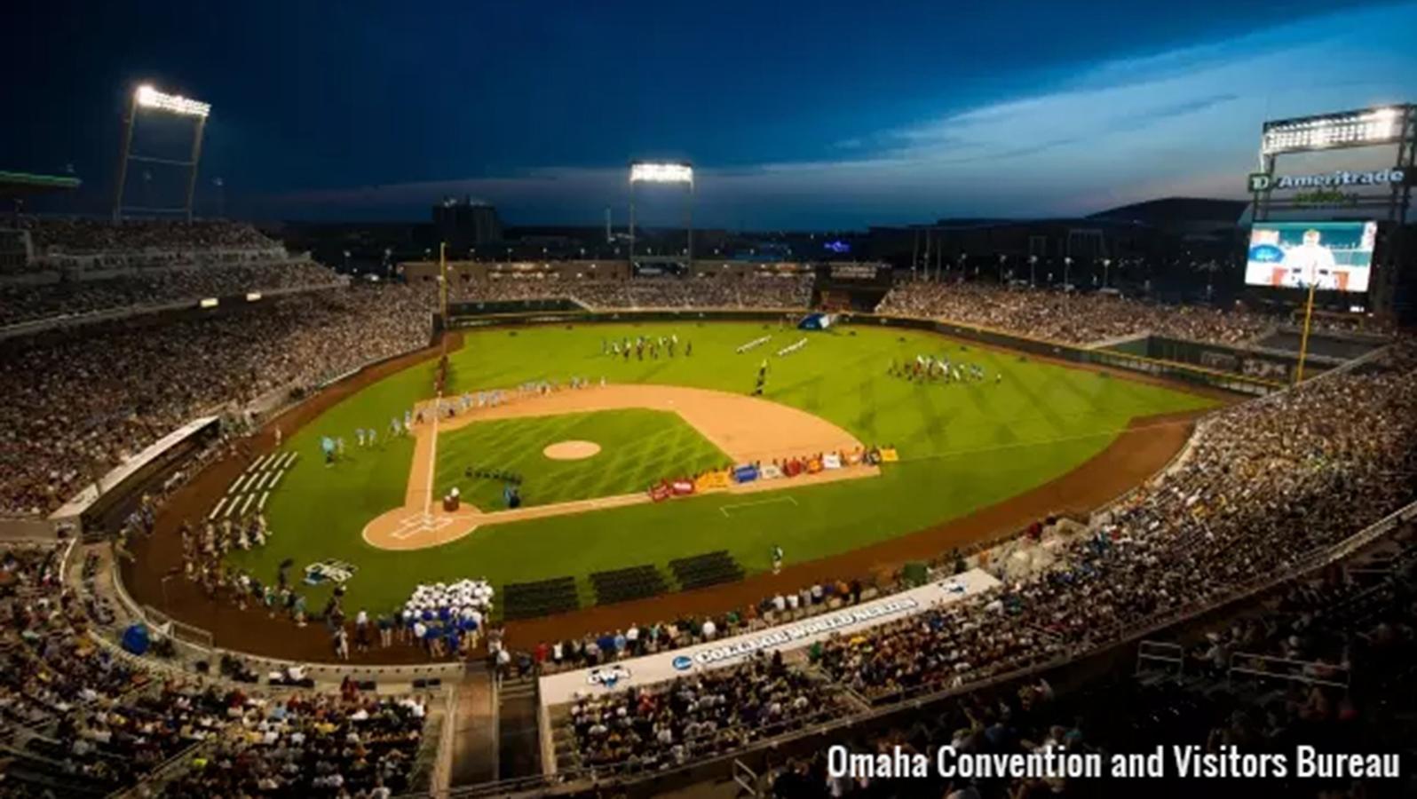 wide shot of Omaha baseball park