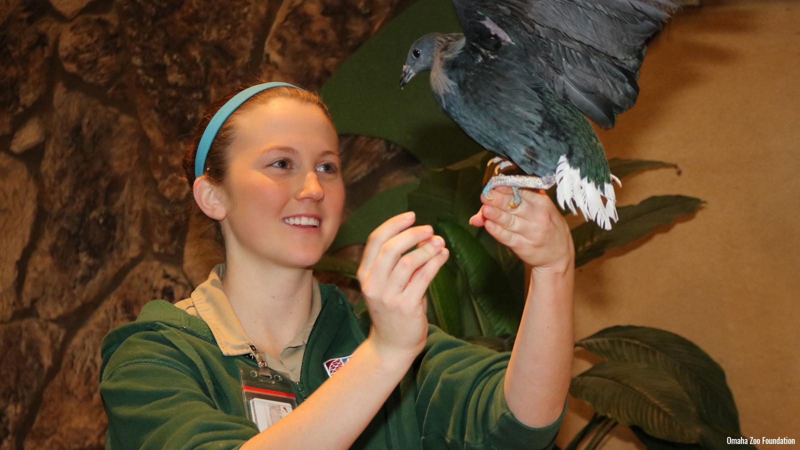 Zoo staff with bird