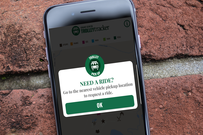 Trolley Tracker Pick Up Request Screen