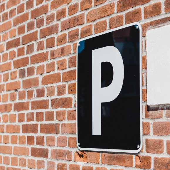 Parking sign in parking lot