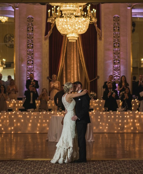Couple Dancing in Crystal Ballroom