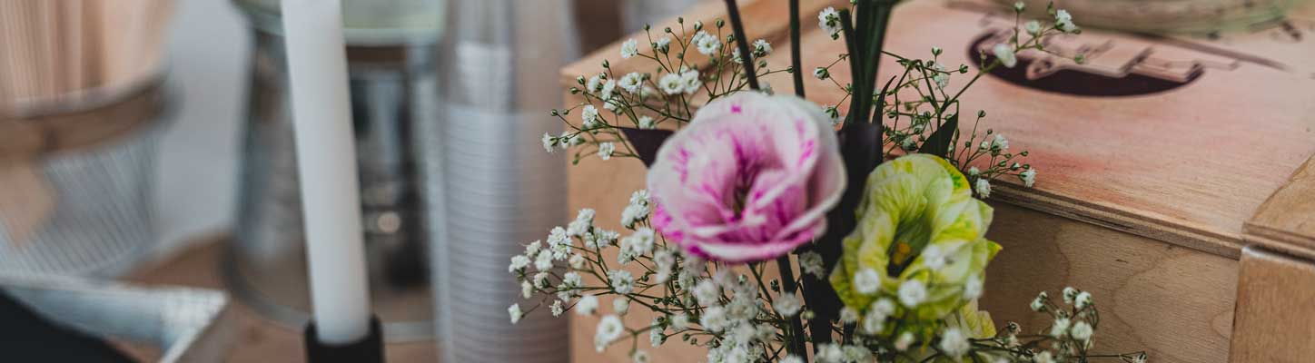image of flowers on wedding reception table