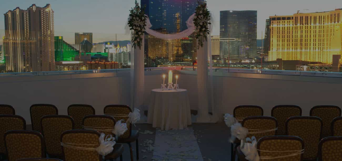Las Vegas wedding venue layout at dusk.