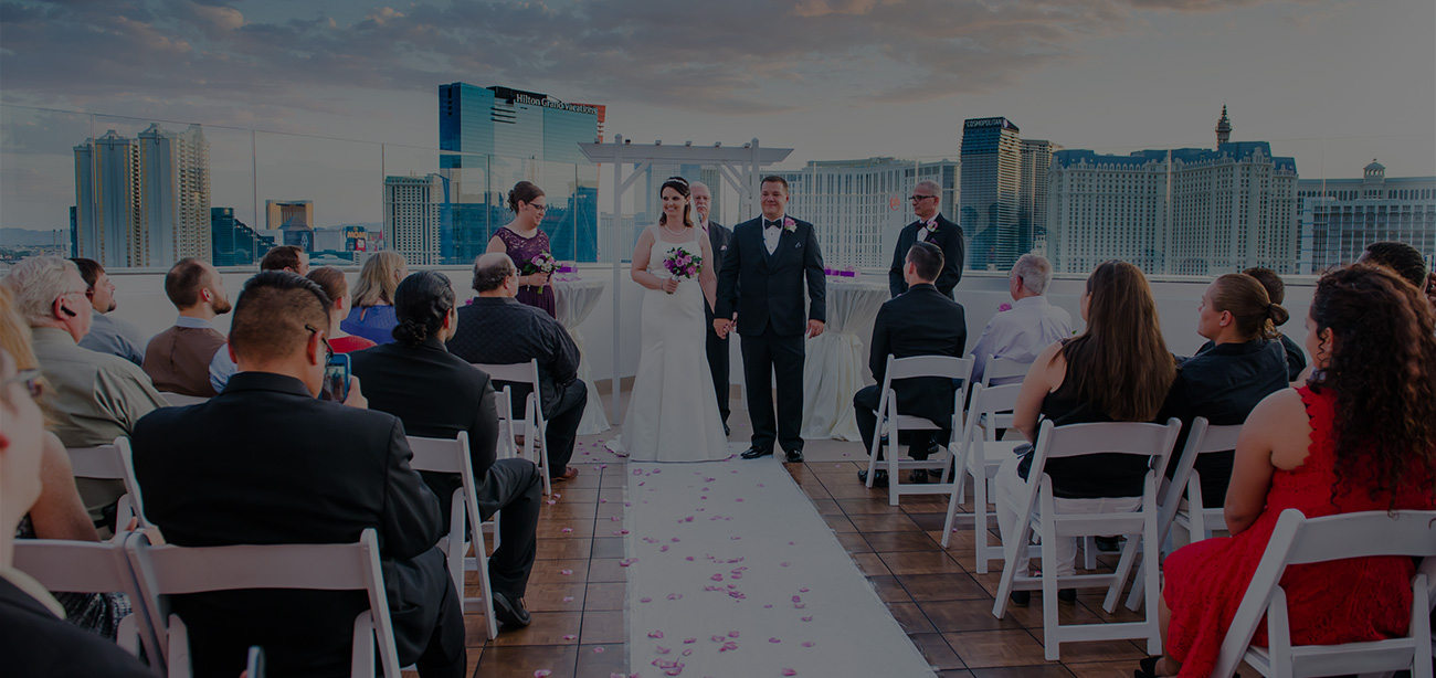 A beautiful outdoor ceremony held at a Platinum Hotel wedding venue in Las Vegas.