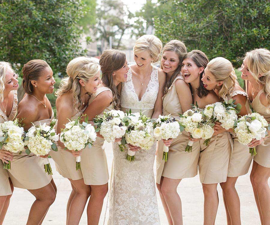 Bridesmaids and a bride at a wedding
