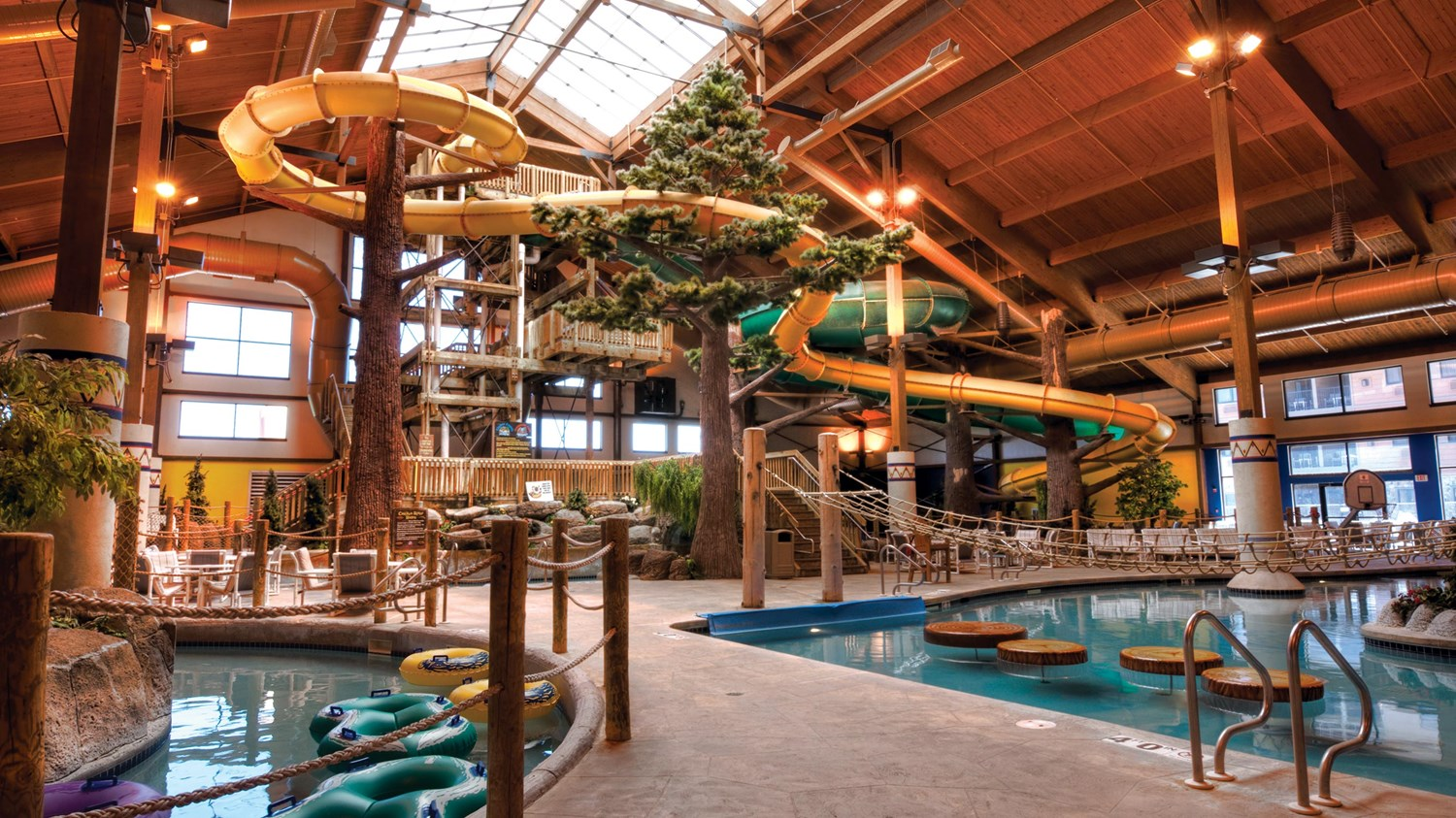 Panoramic view of the indoor waterpark