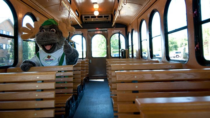 Bruce the Moose sitting inside the Timber RIdge Trolley