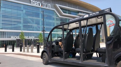 city tour cruiser in front of Fiserv Forum