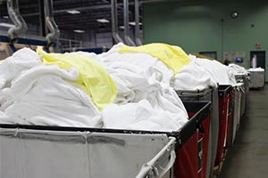 Clean linen in bins